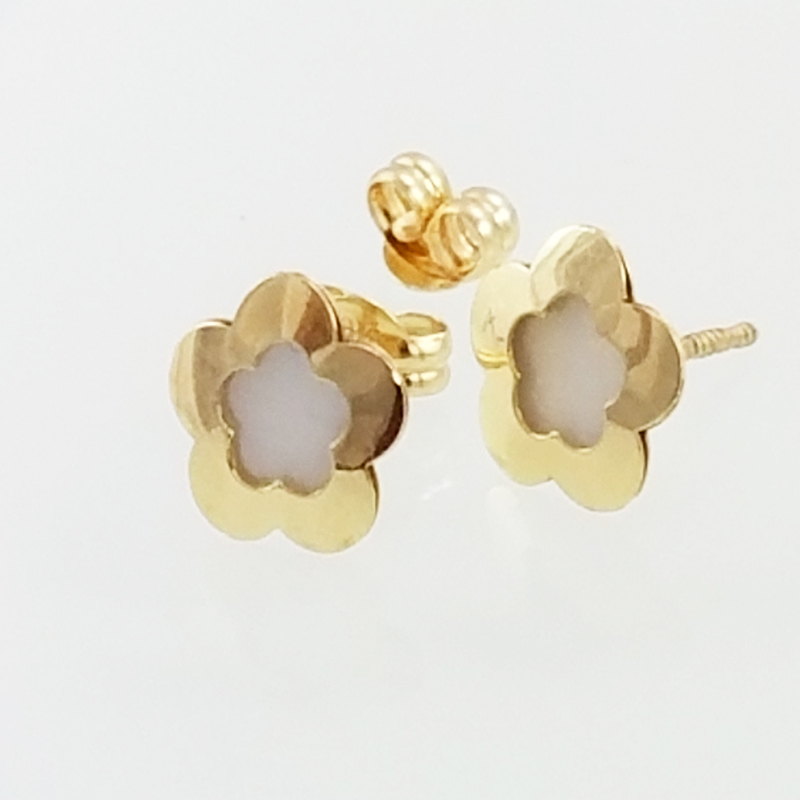 Wide Mother Of Pearl Flower Earrings 14kts Yellow Gold
